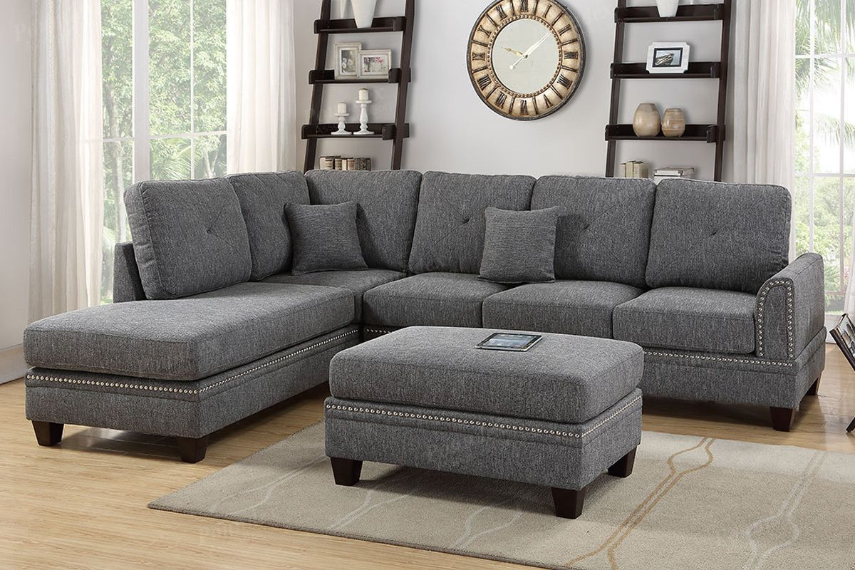 Updated Furniture Ah Black Sectional With Reversible Chaise F6511 Savvy Discount Furniture Fabric Sectional Sofas Sectional Sofa Living Room Sectional