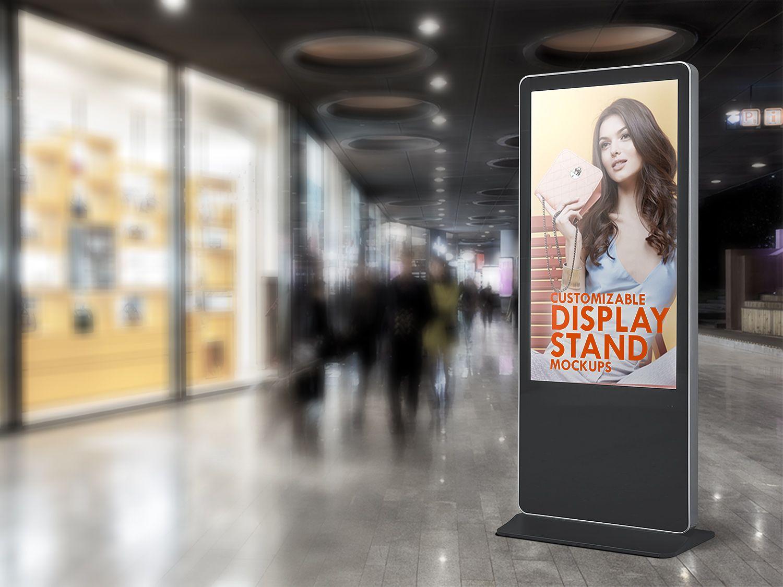 6 Stand Display Sign Mockup Free Mockup Sign Mockup Display Advertising Display Stand