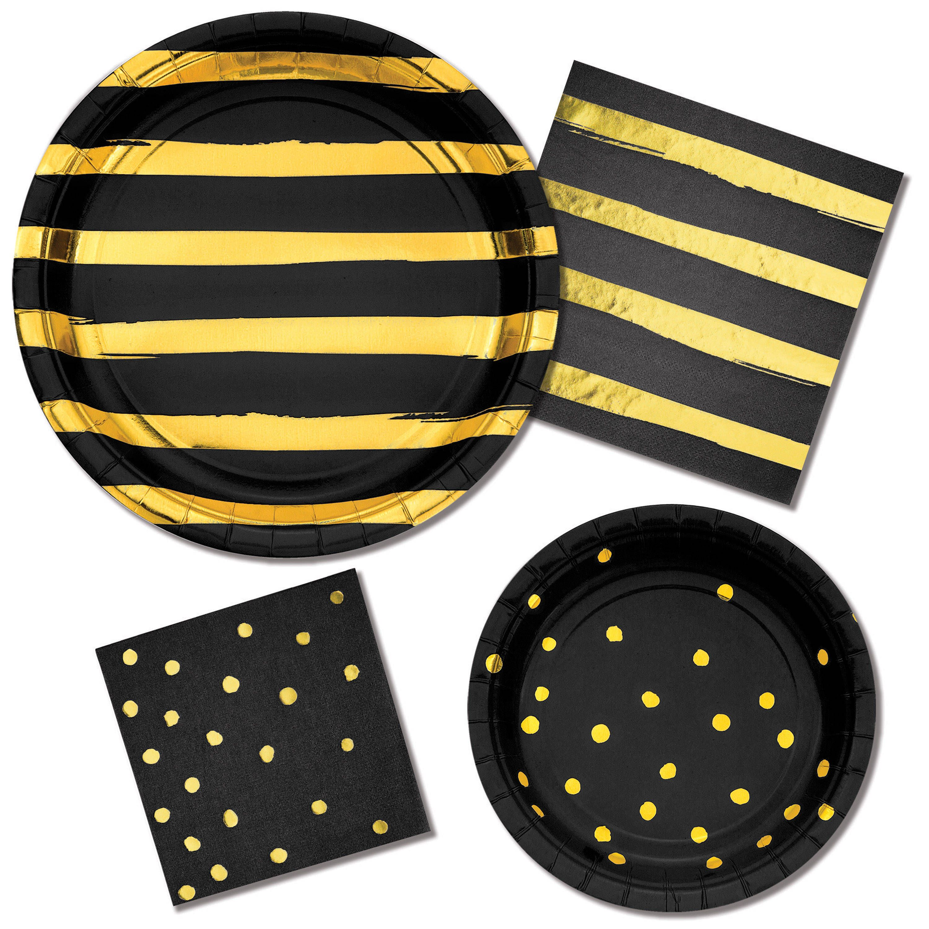 Black And Gold Party Supplies Black And Gold Foil Plates Black