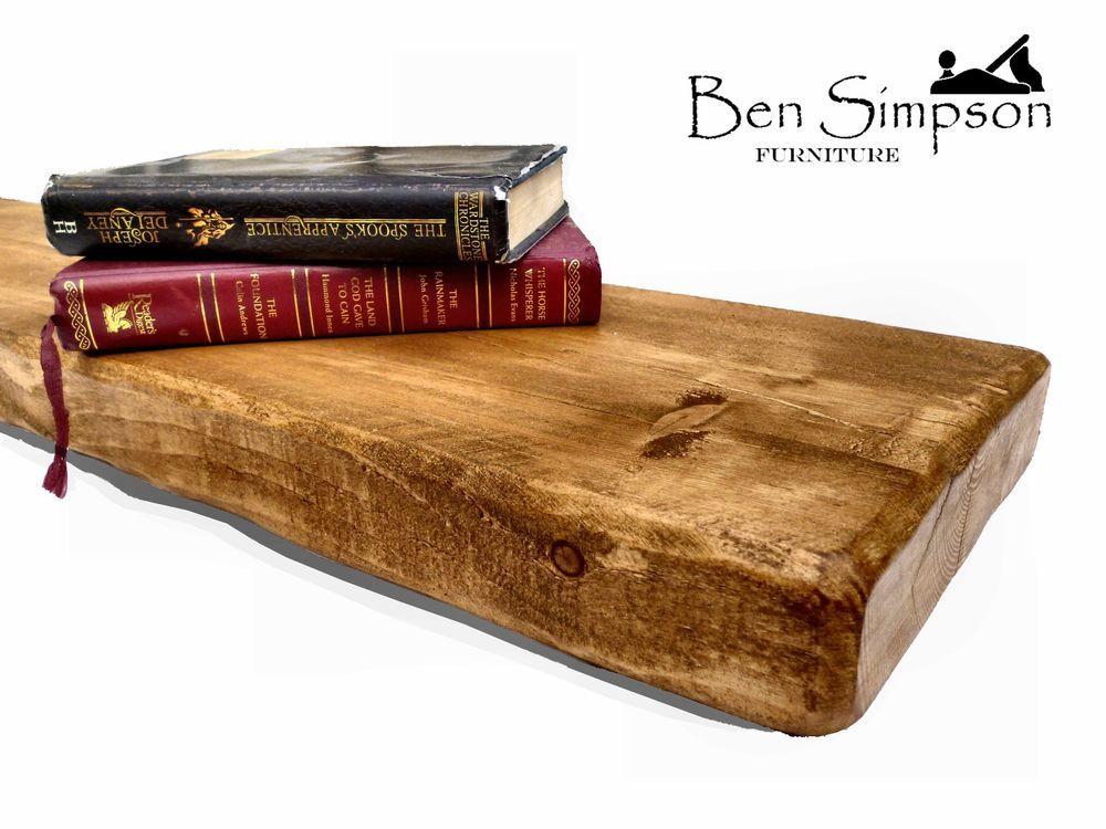 Chunky Wooden Rustic Solid Floating Shelf Shelves Mantel Handmade 22cm Depth F22 in Home, Furniture & DIY, Furniture, Bookcases, Shelving & Storage | eBay