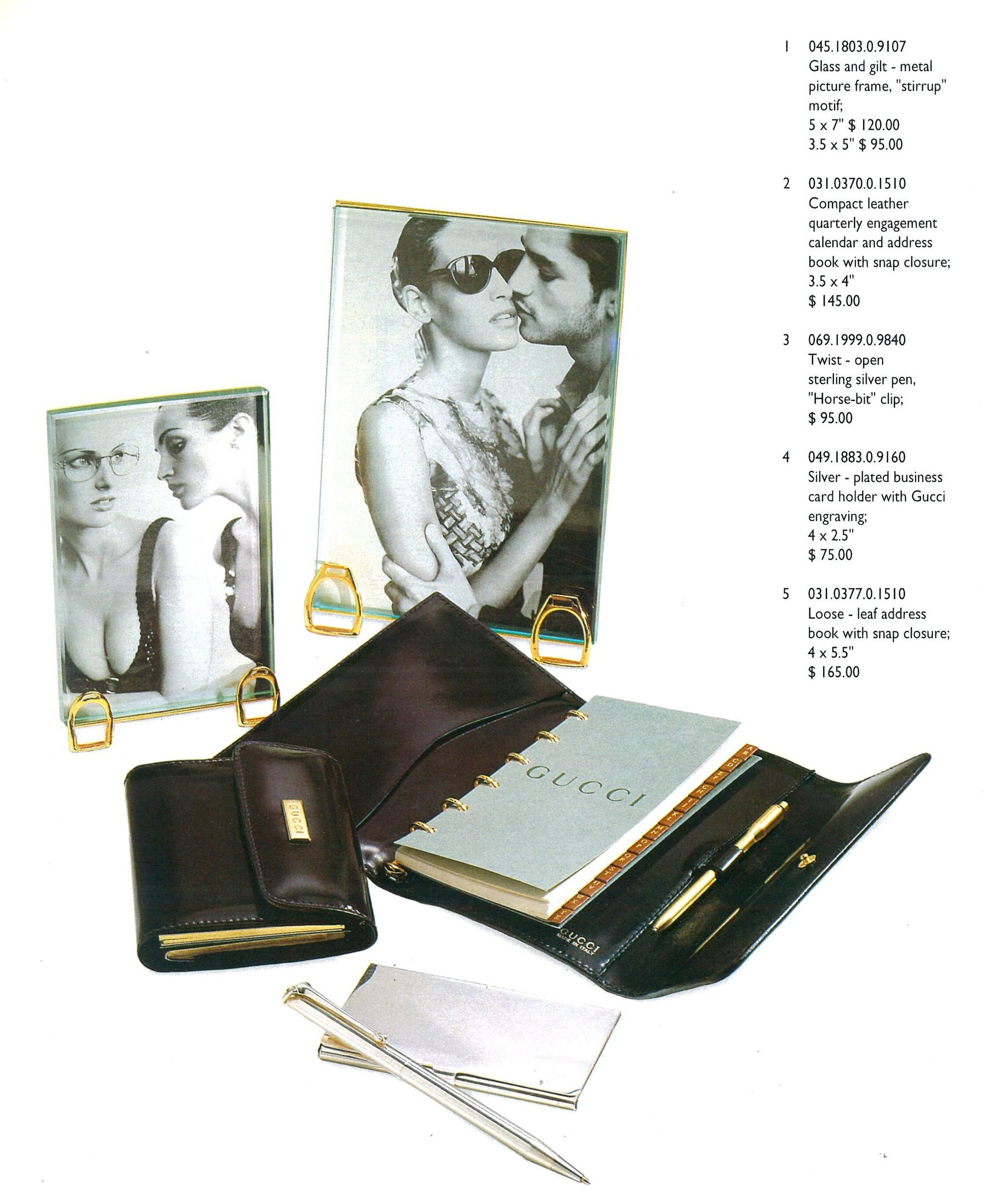 From The Gucci Gifts Regali Pricelist 1995 Catalog. With