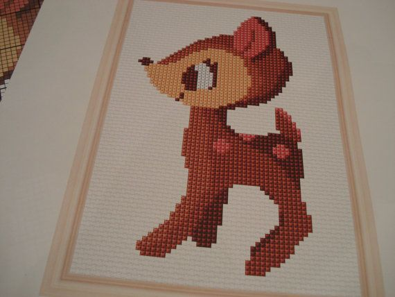 Oh Deer what a cute Bambi cross stitch or by cupcakecutie1 on Etsy