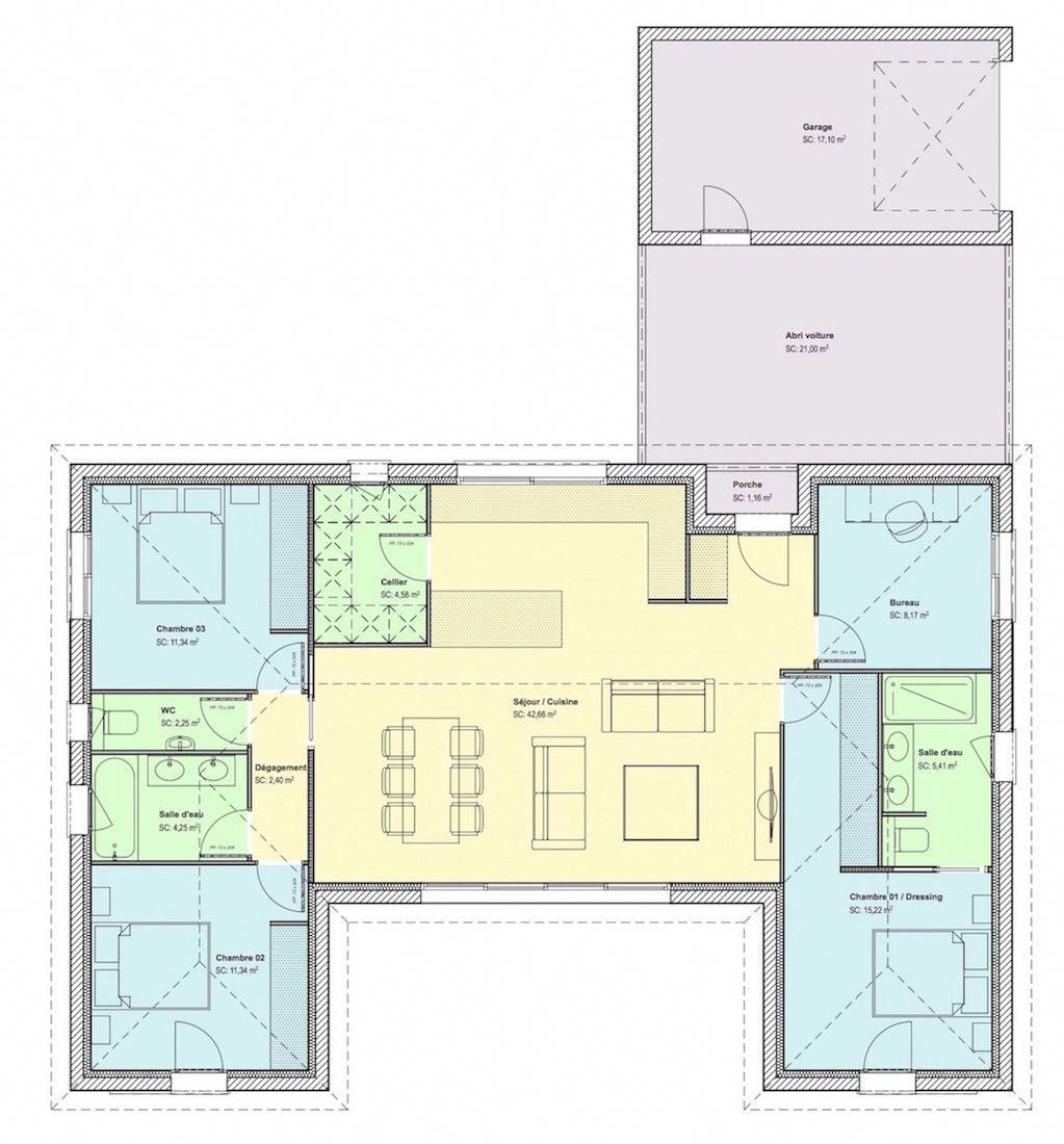 Maison U 107m2 Site Web Copie Ideebricolagejardin Plan