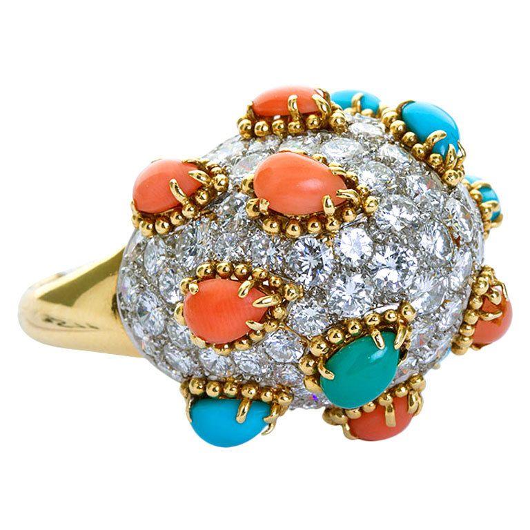 Cabochon Coral Turquoise Diamond Bombé Ring