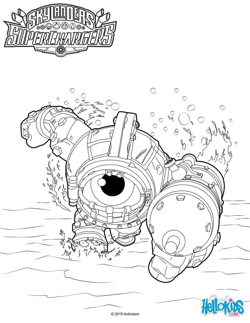 Dive Clops coloring sheet from Skylanders SuperChargers