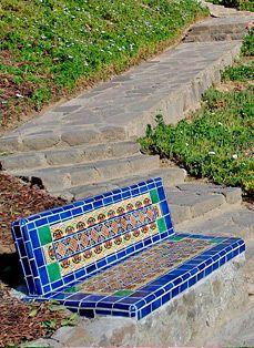 Kristi Black Designs Tile Accents Garden Bench Diy Garden Tiles Mexican Patio