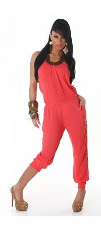 Coral overalls with wooden beads