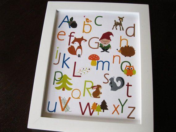 woodland alphabet print by invitemedesigns