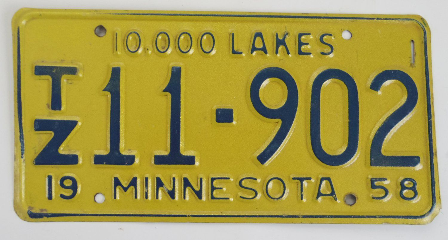 1958+Minnesota+10,000+Lakes+License+Plate SOLD SOLD | License Plate ...