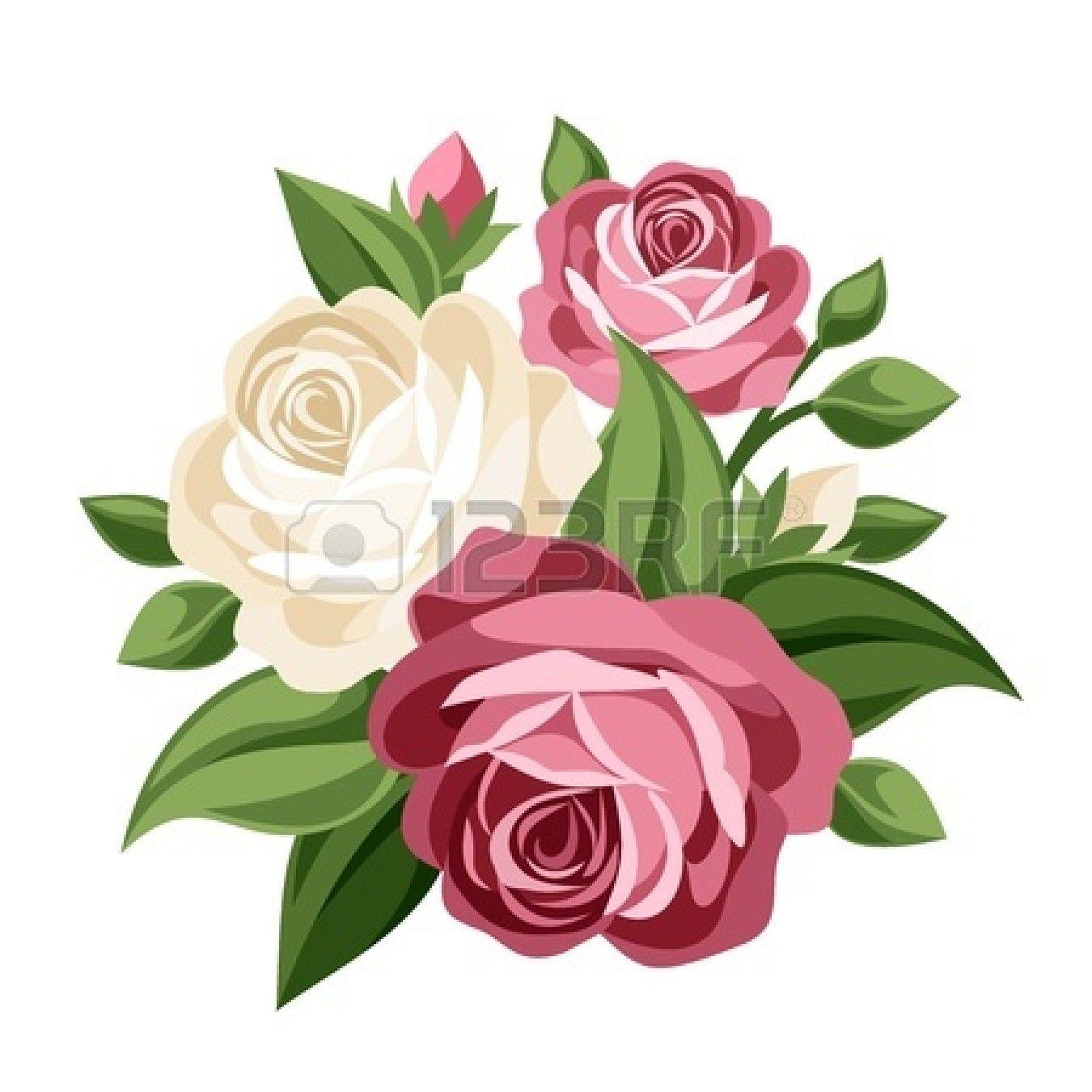 Rose Bouquet Clip Art Black And White Clipart Panda Free Clipart Images Vector Flowers Flower Art Flower Clipart