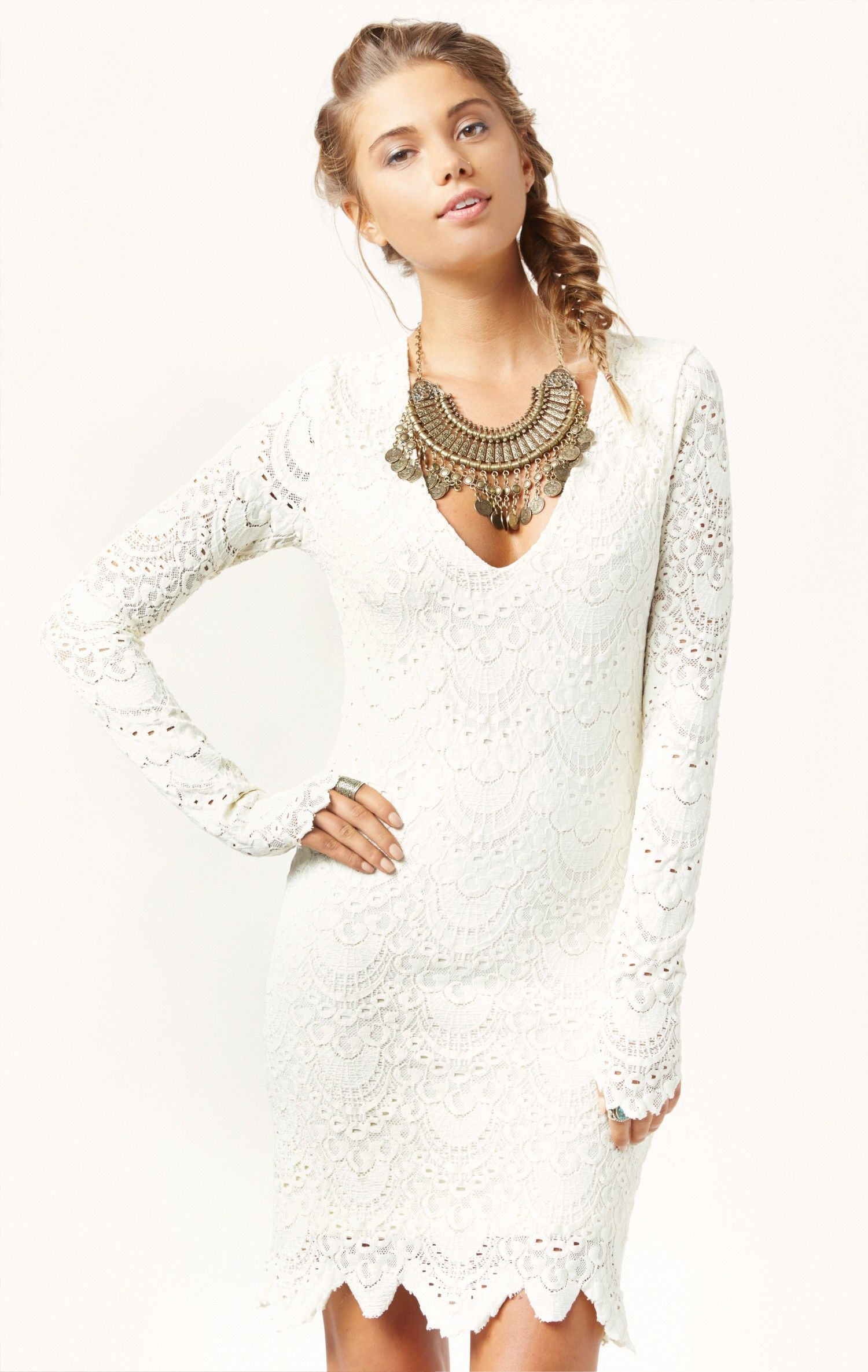 2381b63291 long sleeve deep v spanish lace dress by NIGHTCAP  planetblue