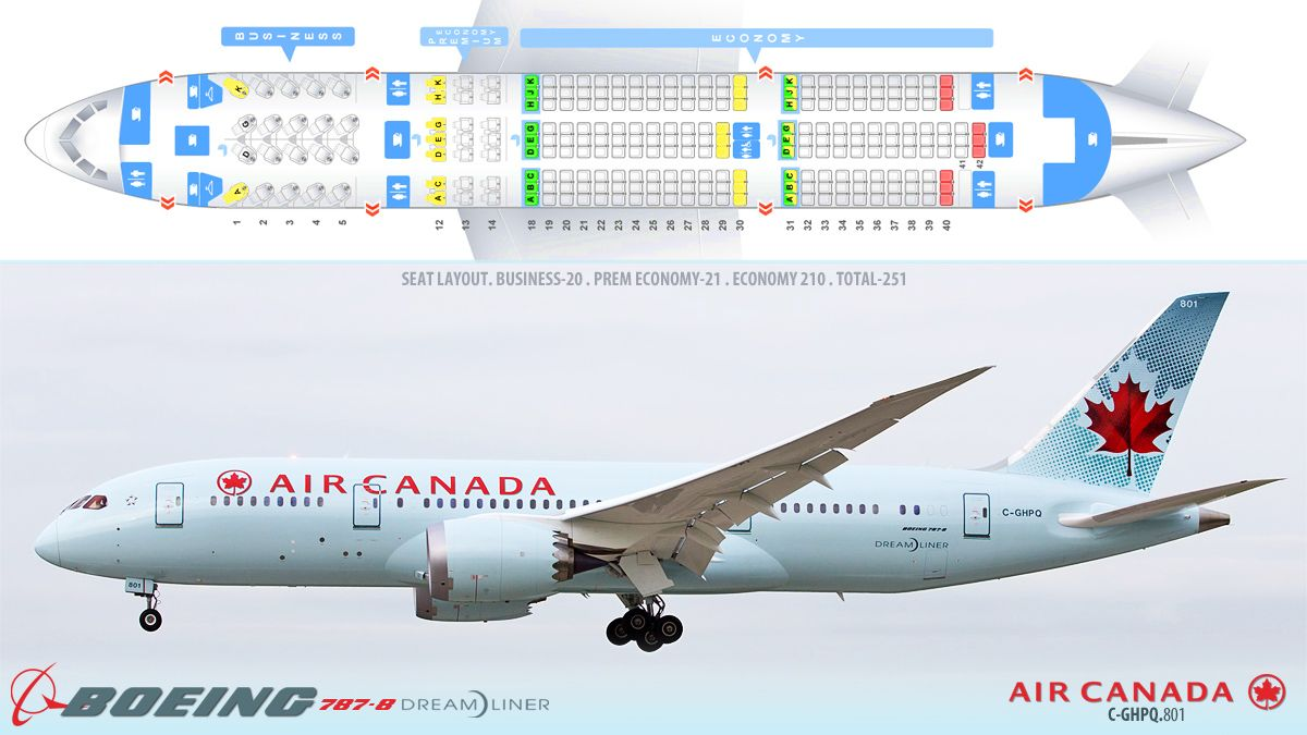 Air Canada BOEING 7878 Dreamliner Airline seats, Route