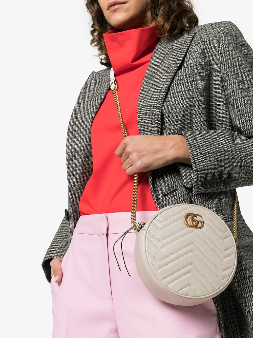 7bbaff147 Gucci | White Marmont Quilted Leather Circle Cross Body Bag - This white  Gucci 'Marmont' circle cross body bag boasts an Italian passport (she's  crafted in ...