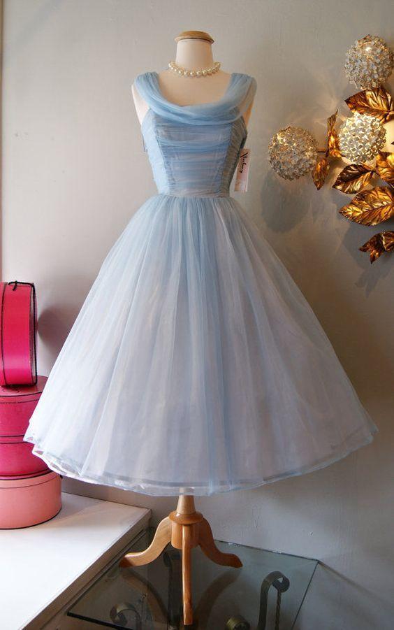 Short Vintage Tulle Evening Dresses Tea Length Cinderella Party Prom ...