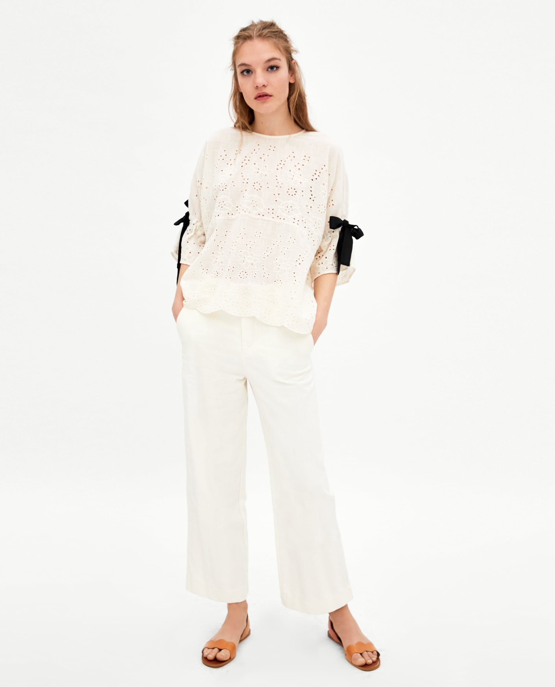 3be6690b ZARA - TRF - EMBROIDERED RUSTIC-STYLE TOP Zara Outfit, Wrap Blouse, Zara