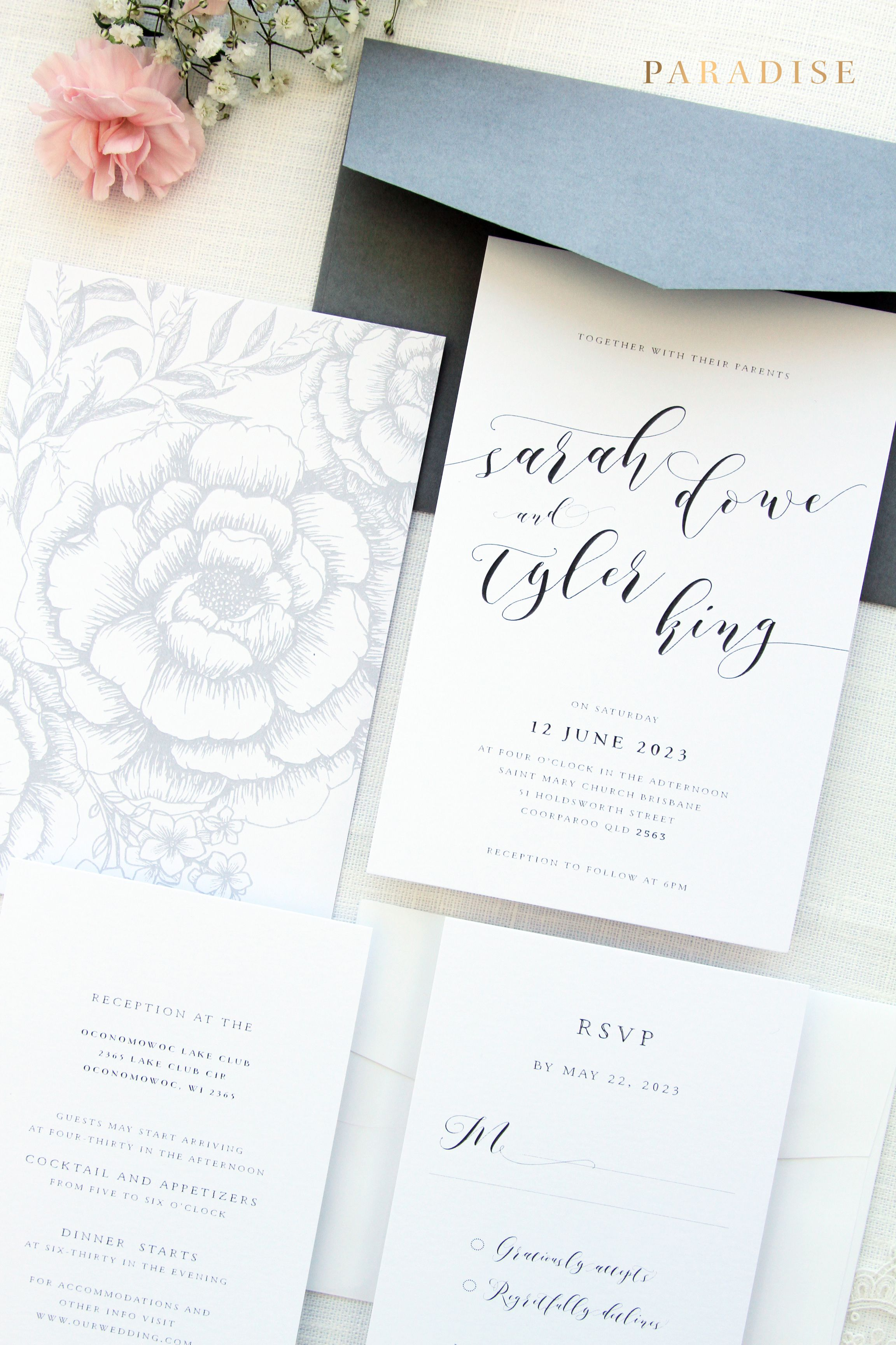 Ivanna Wedding Invitation Sets Ash Grey, Dusty Blue, Power Blue ...