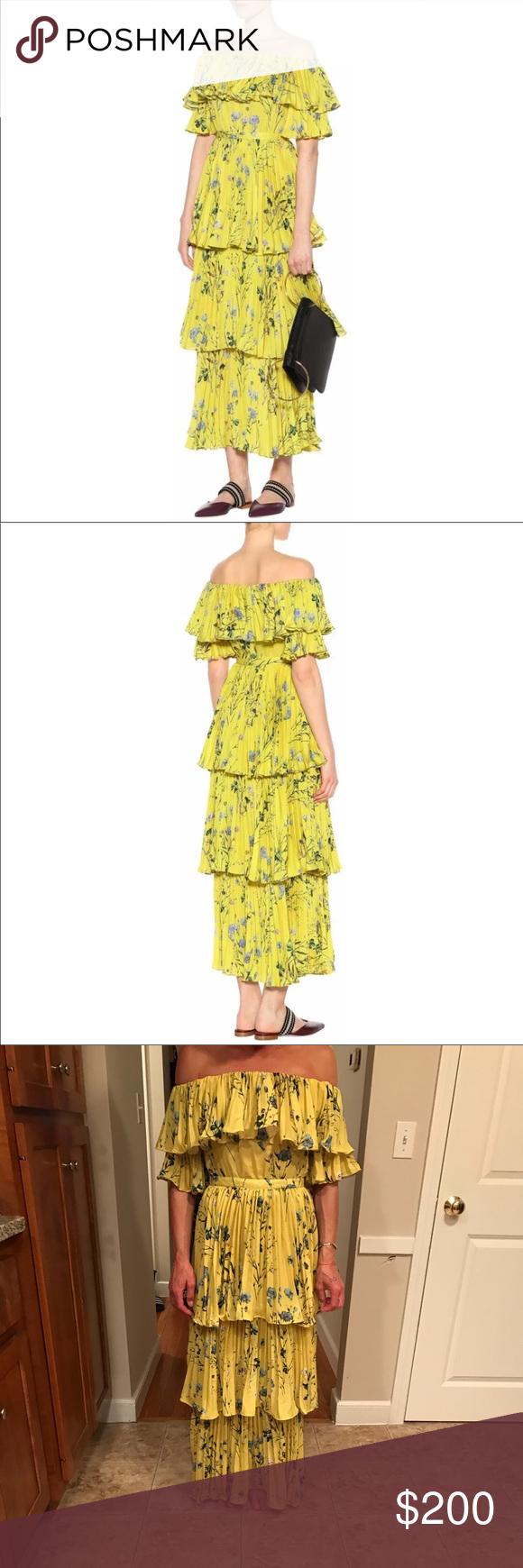 77844d8fc7 Self-Portrait Layered Floral Dress New Self-Portrait Yellow Layered Floral  Maxi Dress