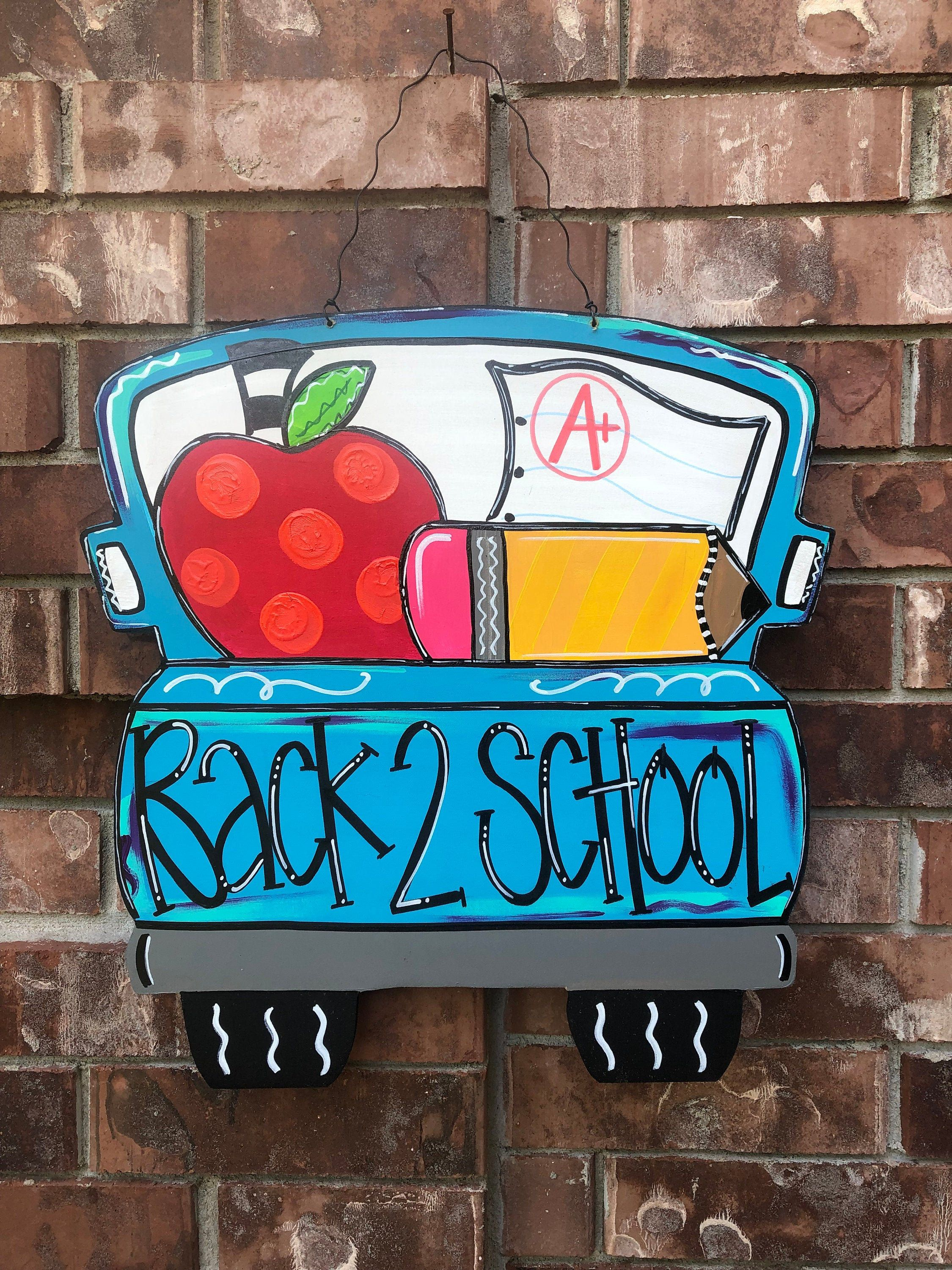 Items similar to Back to school door hanger, classroom door hanger, back to school wreath, classroom wreath, back to school truck hanger, fall door hanger on Etsy