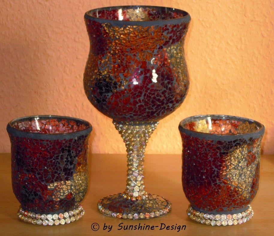 Fensterschmuck Deko Geschenke Wohnaccessoires | Mosaikglas - Windlichter 3-teilig