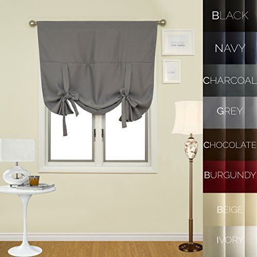 Amazon Com Achim Home Furnishings Ombre Tie Up Curtains 50 By 63 Inch Chocolate Home Kitchen House Styles Window Shades Tie Up Shades