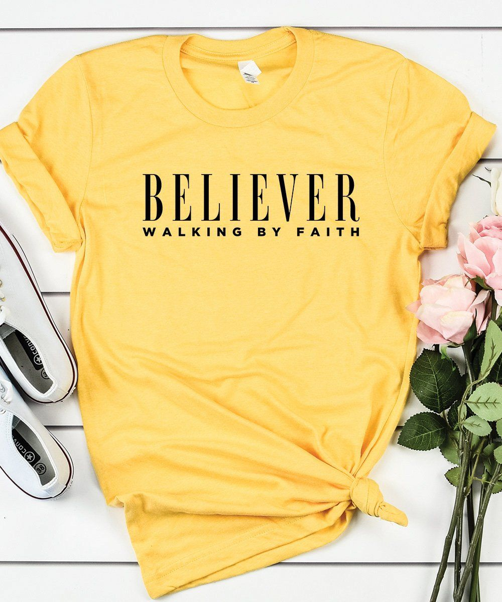 Believer Walking By Faith - Unisex Relax Fit / Yellow / XS