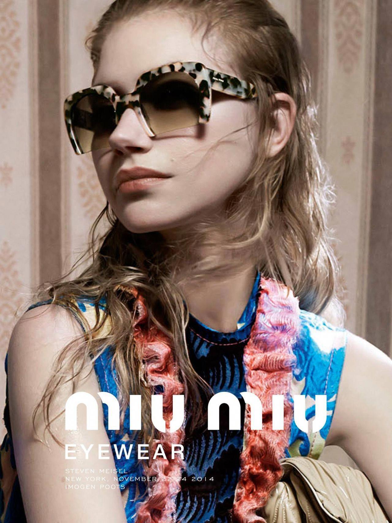 "2d0b4f6749 ""Miu Miu Spring Summer 2015 Eyewear Campaign  Imogen Poots by Steven  Meisel. ""  MiuMiu. """