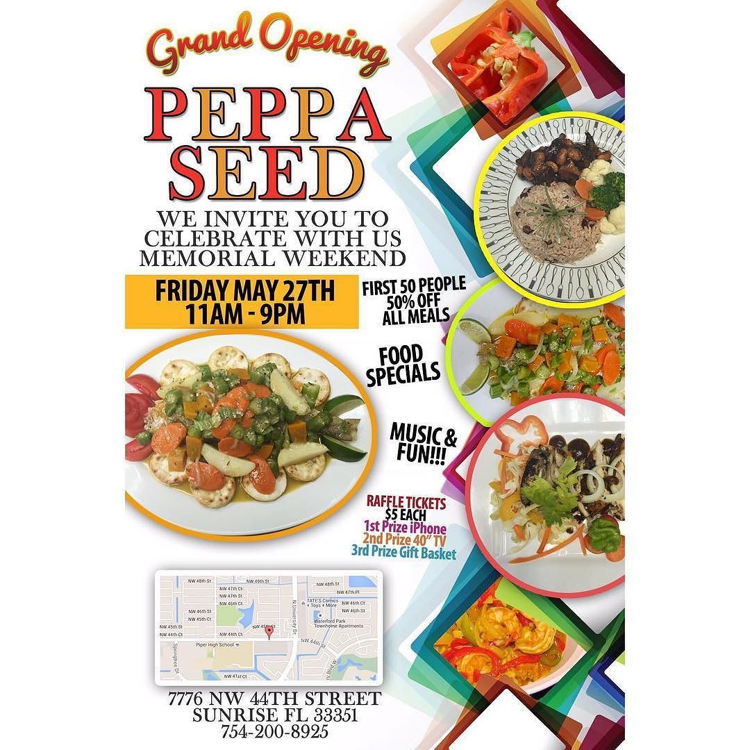 Peppa Seed Jamaican Restaurant Grand Opening Friday May 27 2016