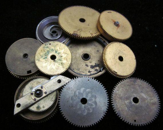 12 Antique Vintage Clock Watch Parts Cogs by amystevensoriginals