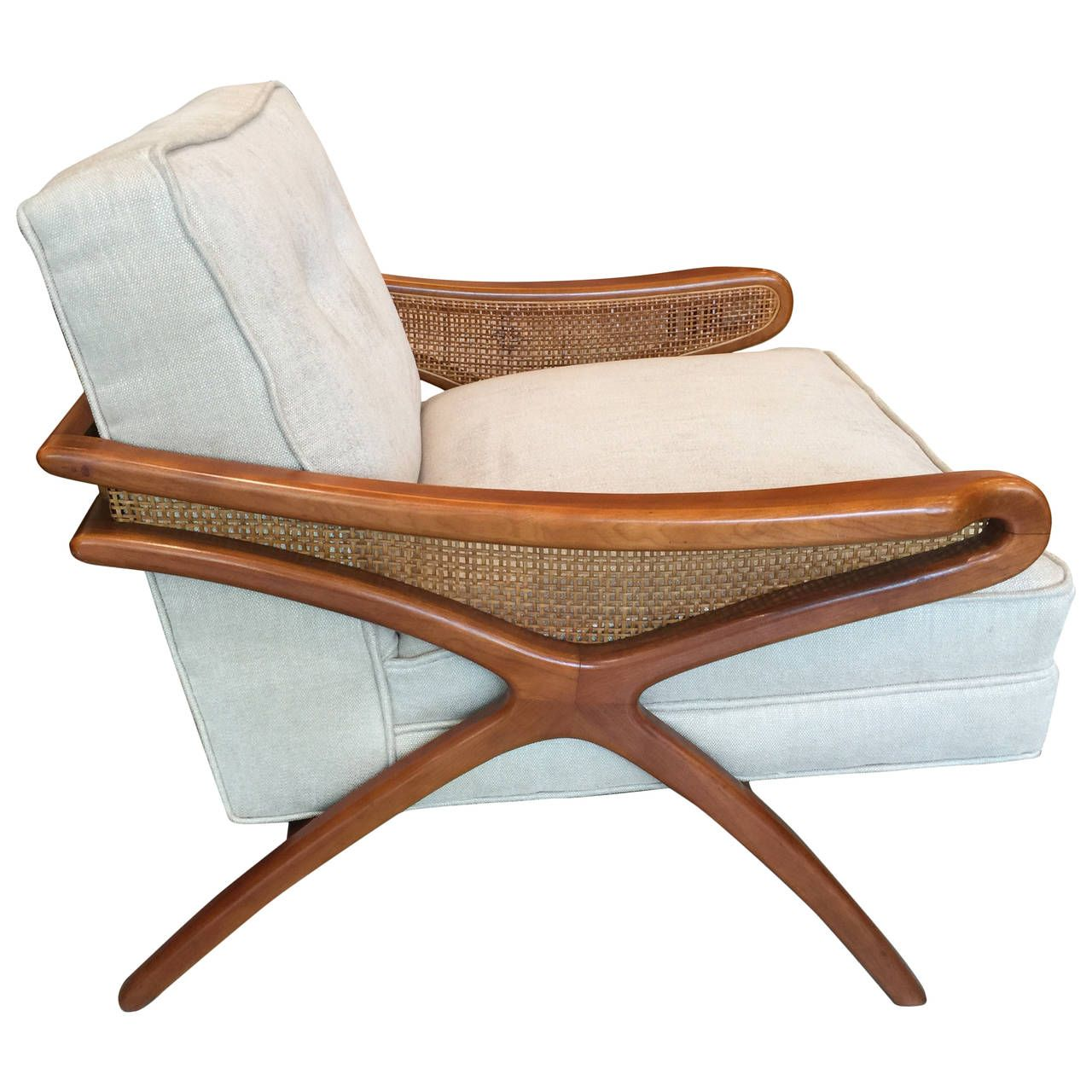MidCentury Sculptural Club Chair with Rattan Detail
