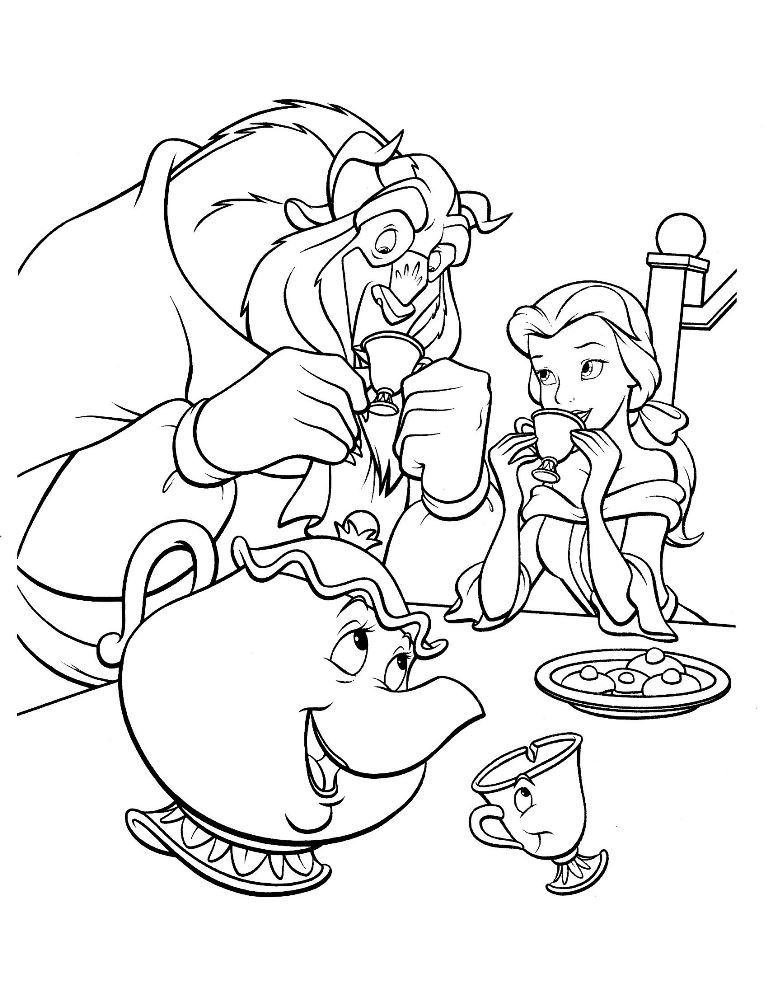 Pin Auf Beauty And The Beast Coloring Pages