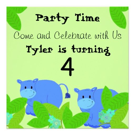 Happy Hippo Birthday Party Invitation