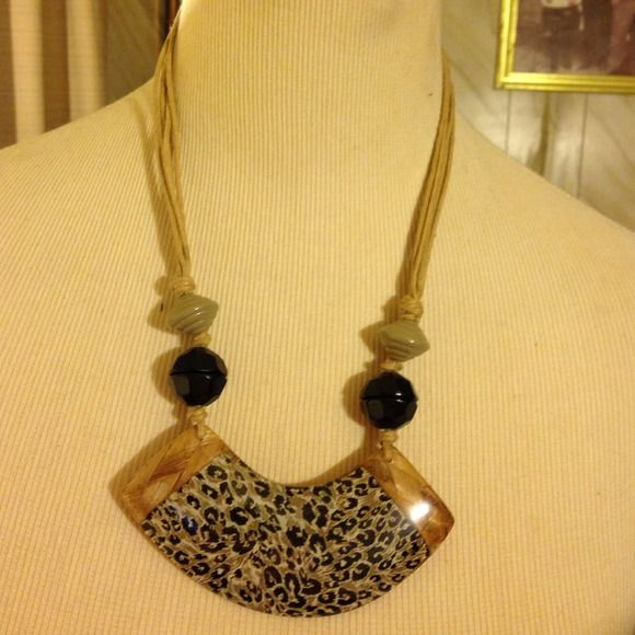 """Beautiful rope beaded stone necklace Brand new never worn, made with multi ropes attached! 11 1/2"""" long Jewelry Necklaces"""
