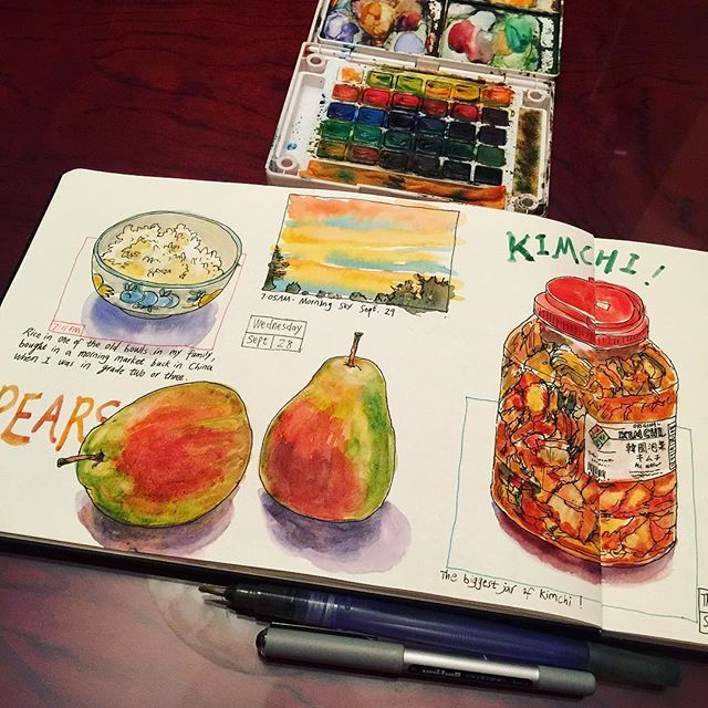 A page of food journals, plus a quick 5 min sketch of sunrise thus morning. 😀🎨📒 #caobeckysketch
