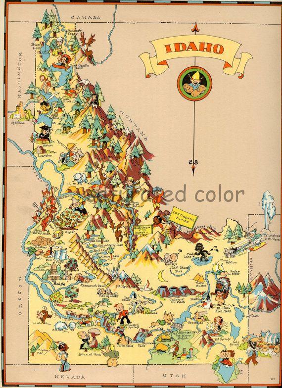 Idaho Map Original 9 X 13 Vintage 1930s Antique Picture Map Of