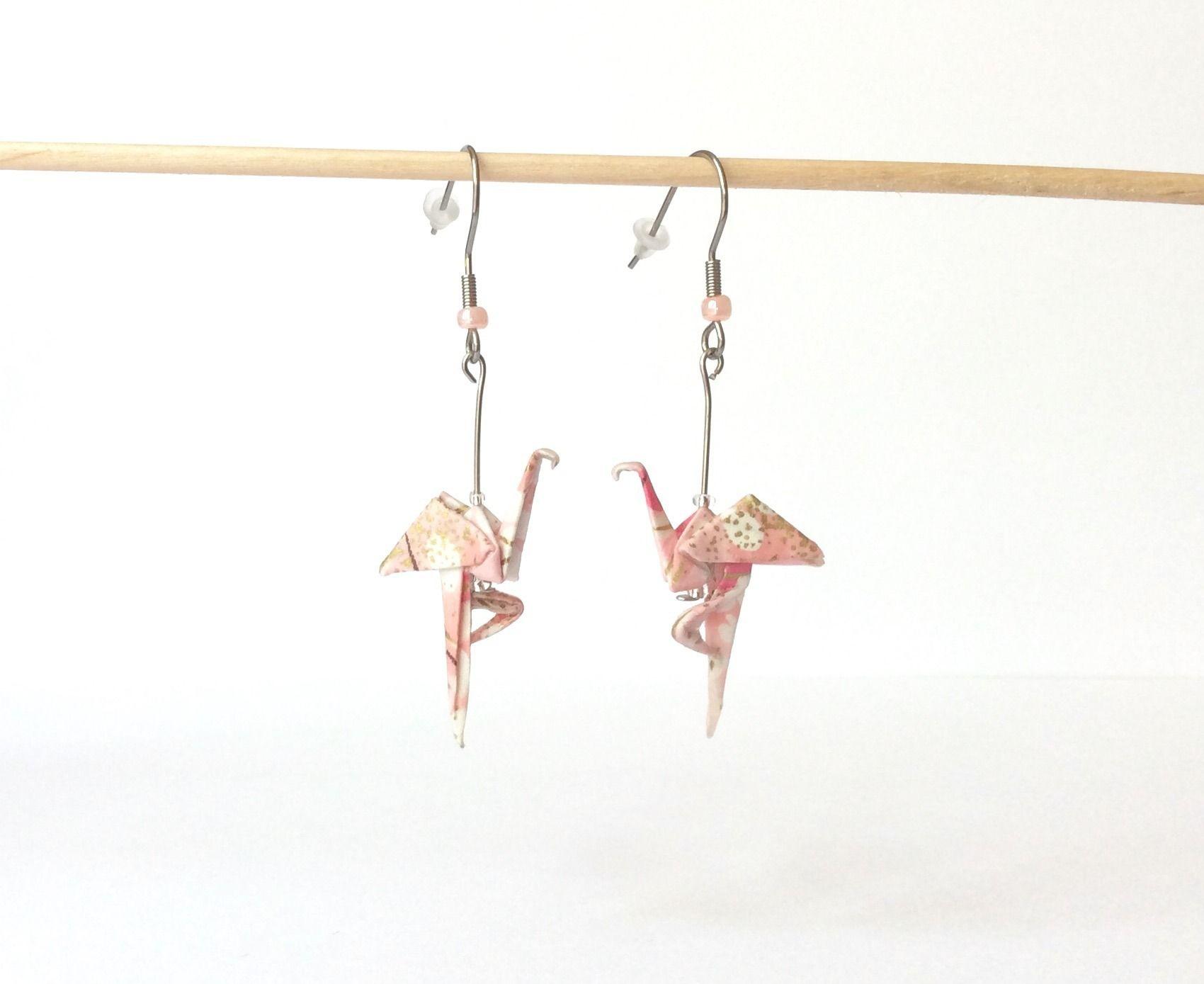 Bijoux Flamant Rose : flamant rose bijou flamingo origami flamant rose boucles ~ Teatrodelosmanantiales.com Idées de Décoration