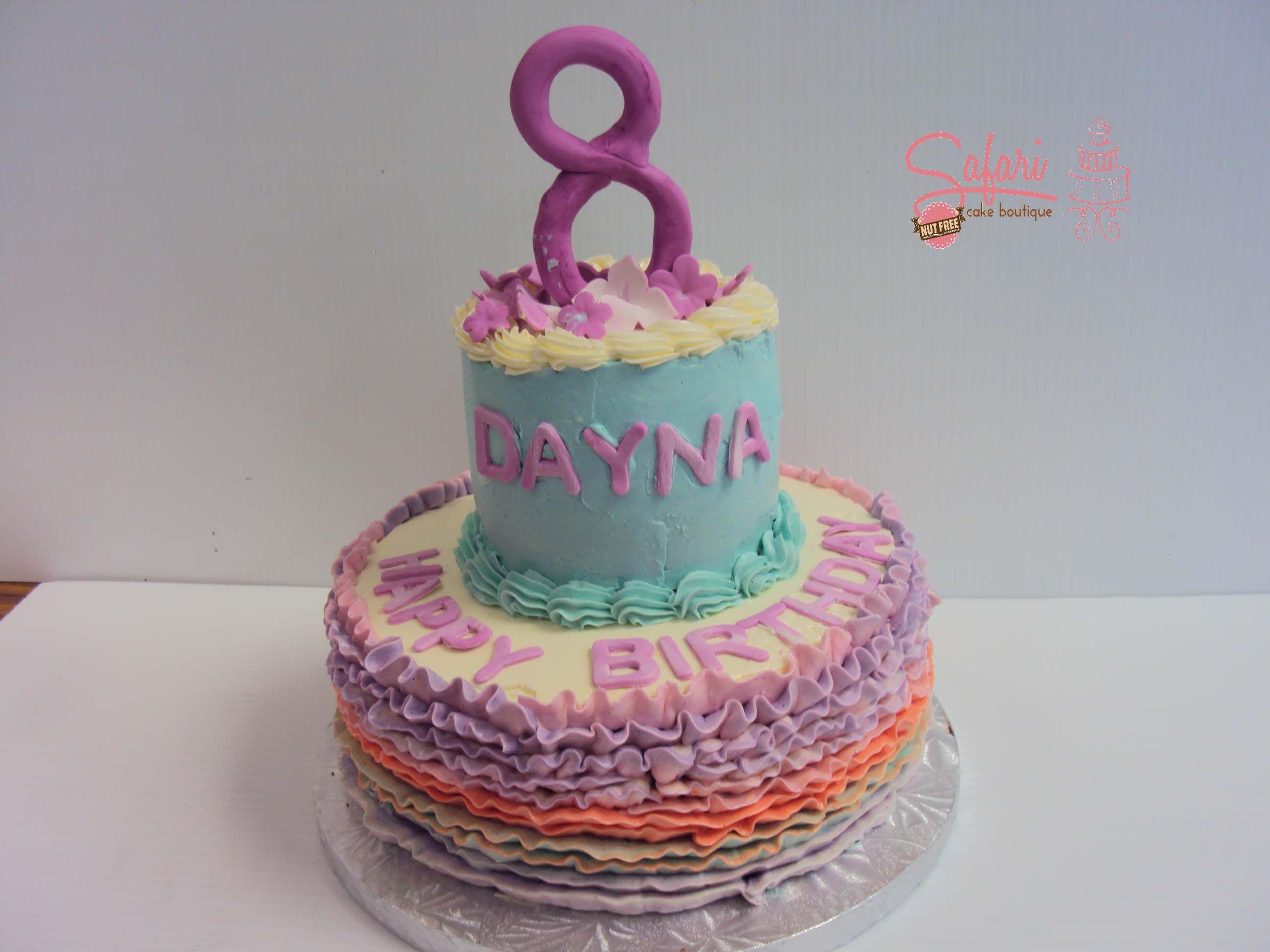 Magnificent 2 Tiered Rainbow Birthday Cake Birthdaycake Cake Safari Cakes Birthday Cards Printable Inklcafe Filternl