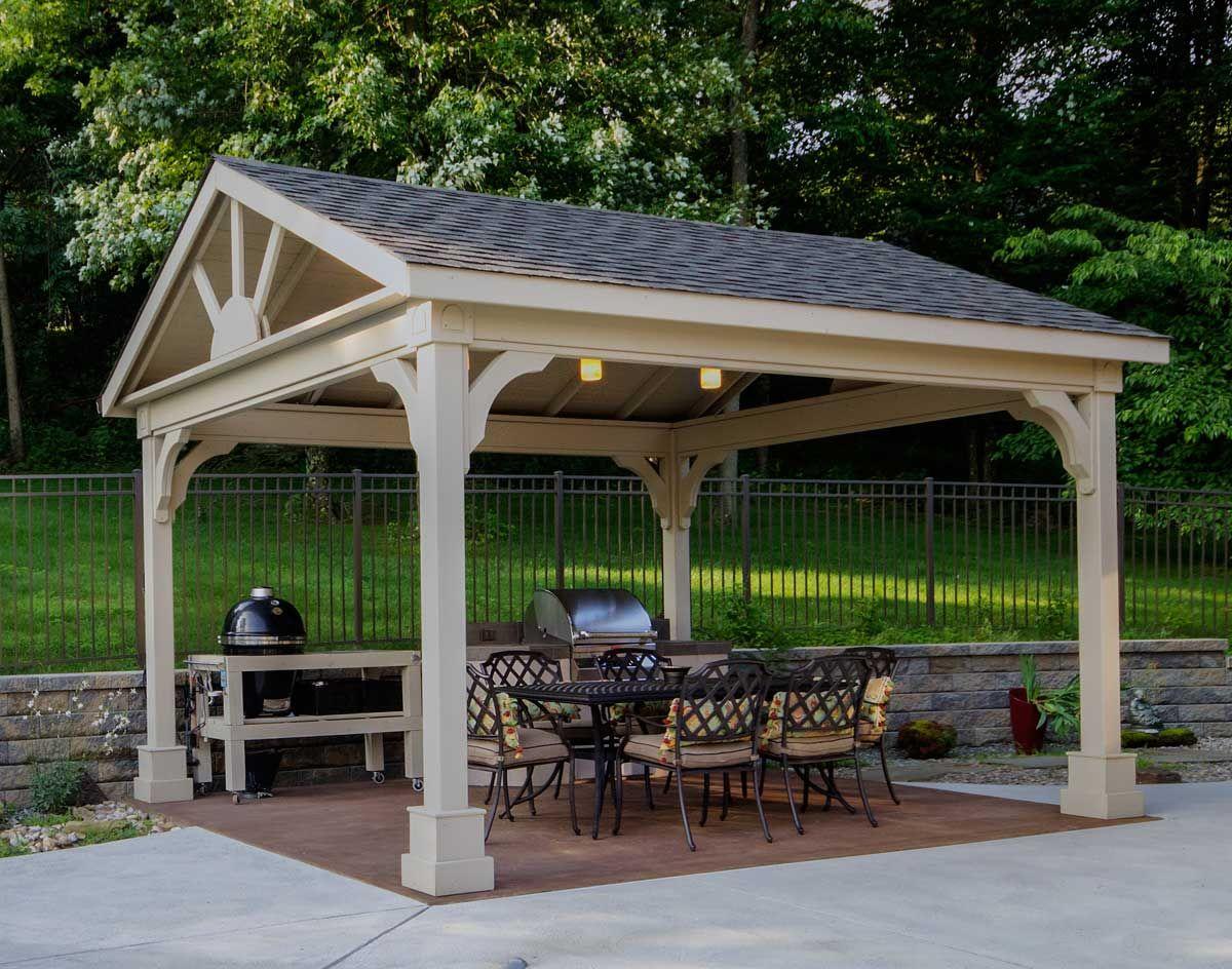 Red Cedar Gable Roof Open Rectangle Gazebos Gazebos By Style