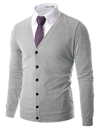 Doublju Mens Button Down V-Neck Cardigan at Amazon Men's Clothing ...