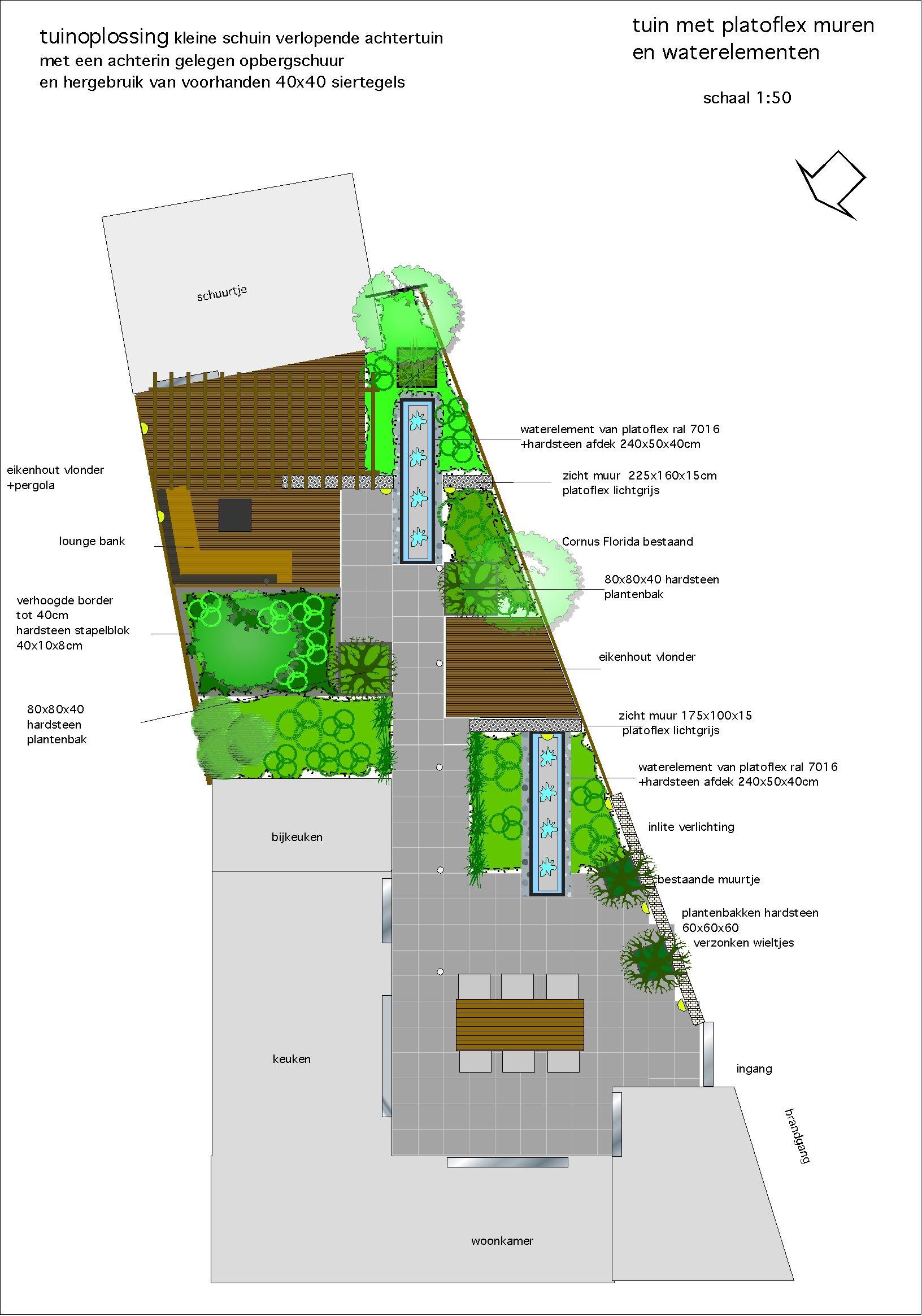 Oplossing voor smalle schuin weglopende achtertuin dmv for Tuinontwerp schuine lijnen