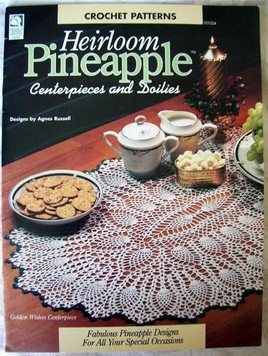 Heirloom Pineapple Centerpieces Doilies Crochet Leaflet 7 Projects Christmas | eBay