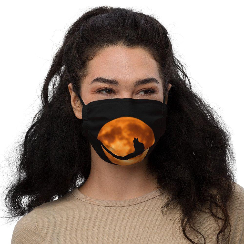 Moon Cat Face Mask | Black and Orange Halloween Fa