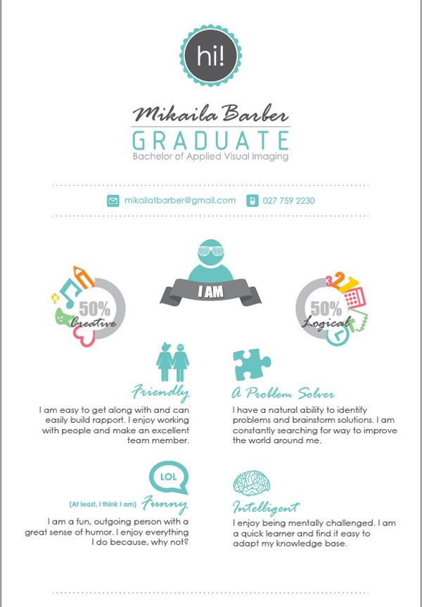 50 Awesome Resume Designs That Will Bag The Job Graphic designer - quick learner resume