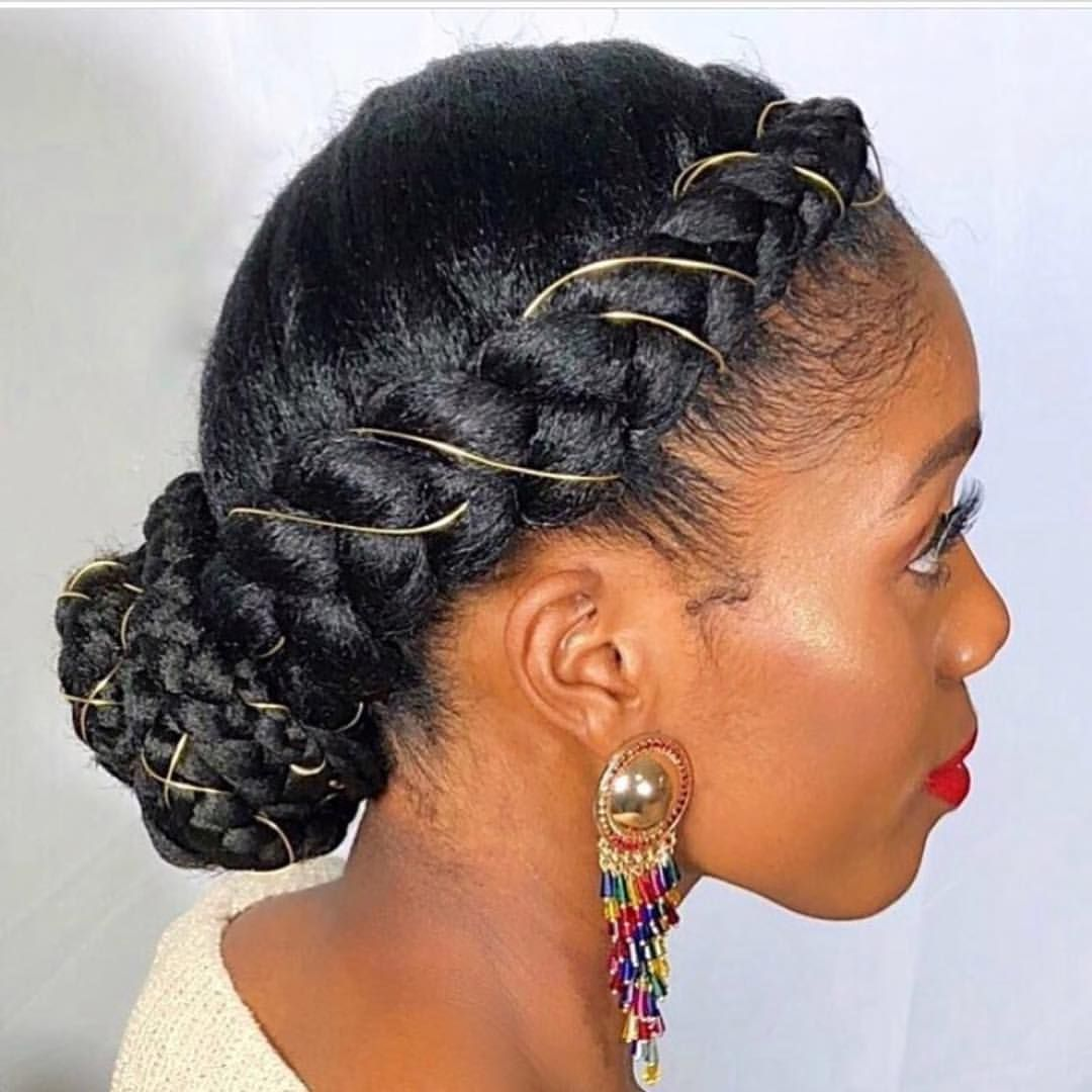 Pls Tag French Braids With Gold Thread Natural Hair Styles