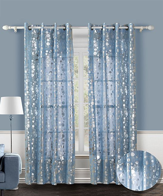 Blue Spotlight Curtain Panel Set Of Two 29 99 Sweet And Sheer These Whispery Curtains With Silv Panel Curtains Silver Curtains White Pencil Pleat Curtains