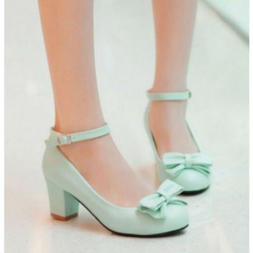d5a9700f561 Fashion-Women-Leather-weet-Bow-Low-Chunky-Heel-Office-Lady-Straps-Shoes -Size-New