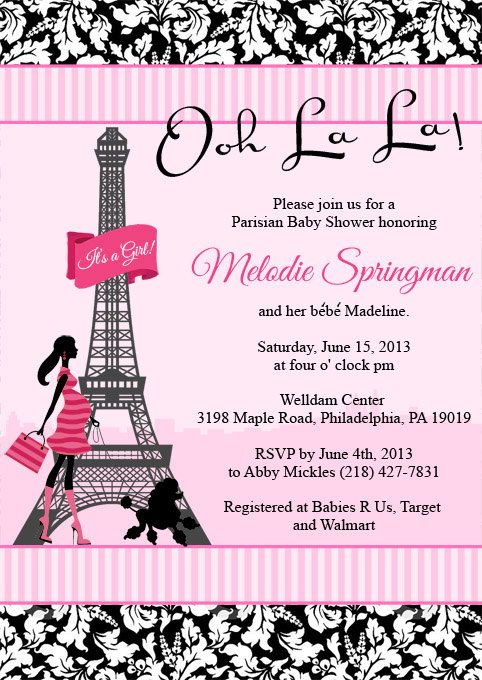 Poodles and paris baby shower invitation paris baby shower glover baby filmwisefo