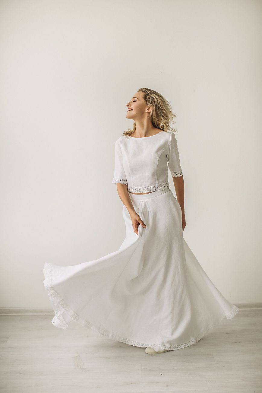 f8bfc3f08a Linen crop top wedding dress with a lace. Handcrafted by CozyBlue. All our linen  wedding dresses are made to personal body measurements.