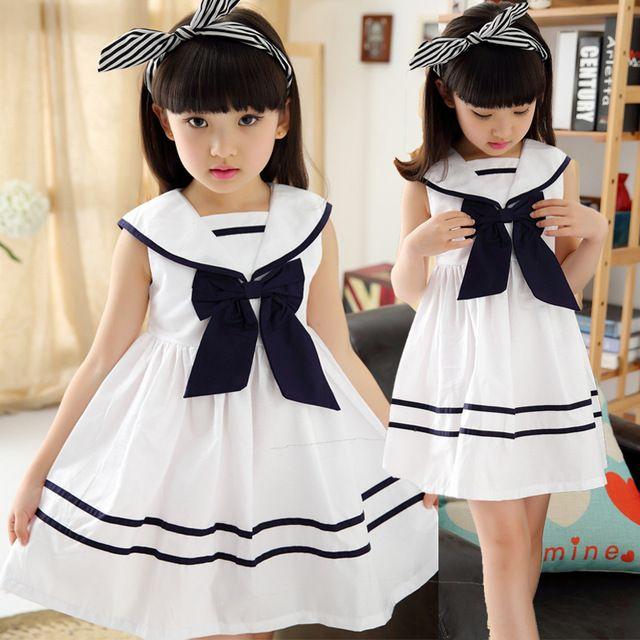 fc4b1e81 Ropa para adolescentes para las niñas moda niños del verano de la marina de  rayas princesa longitud del vestido para niños de la escuela ropa edad 10  11 12 ...