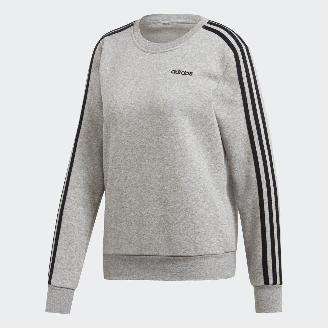 Essentials 3 Stripes Sweatshirt Grey Womens In 2021 Striped Sweatshirts Hoodies Womens Women Hoodies Sweatshirts [ 1080 x 1080 Pixel ]