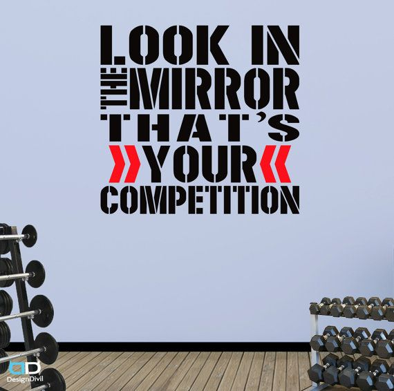 Look In The Mirror. Word Square Wall Fitness By